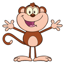 Happy Monkey Cartoon Character...