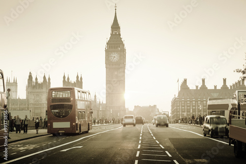 Poster London Westminster Bridge at sunset, London, UK