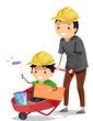 Stickman Kid Boy Dad Construction Wheelbarrow