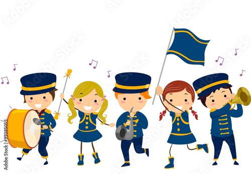 Stickman Kids Lyre Band Uniform Wallpaper Mural