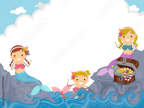 Cadres-photo bureau Cosmos Stickman Kids Girls Mermaids Group
