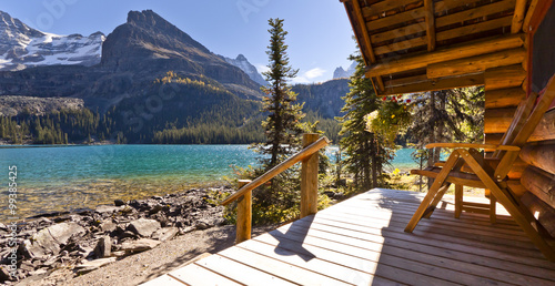 view from cabin on mountain lake Wallpaper Mural