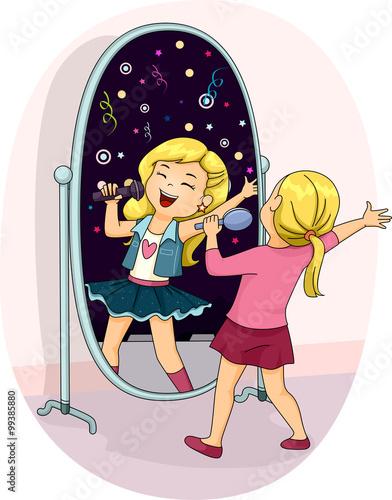 Fotografía  Pop Star Kid Girl Mirror Singing