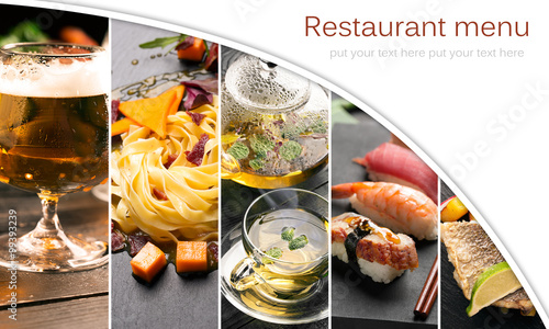 Fotobehang Restaurant Natural food photo collage