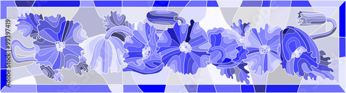 Illustration in stained glass style flowers in blue colors