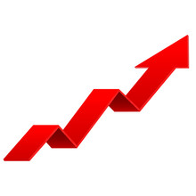 Red Indication Arrows. Down Arrows, Statistic Financial Graphic.