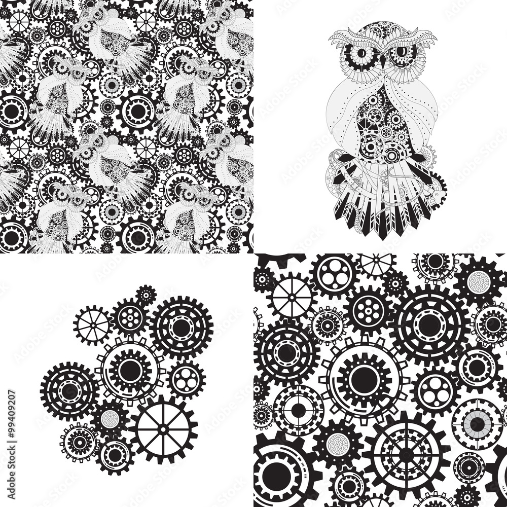 Black gears, steampunk seamless pattern. Steampunk outline vector owl with gear. Metallic steam punk owl. Set of steampunk seamless gear and owl pattern, abstract steampunk owl and gears.