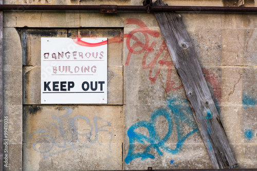 Dangerous Building Keep Out sign Poster