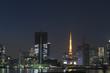 晴海埠頭から望む 東京タワーと摩天楼の町並み 夜景