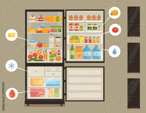 Fototapeta Open refrigerator full of fresh food obraz na płótnie