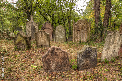 Spoed Foto op Canvas Begraafplaats Old Jewish Cemetery at Kolin city, Czech republic