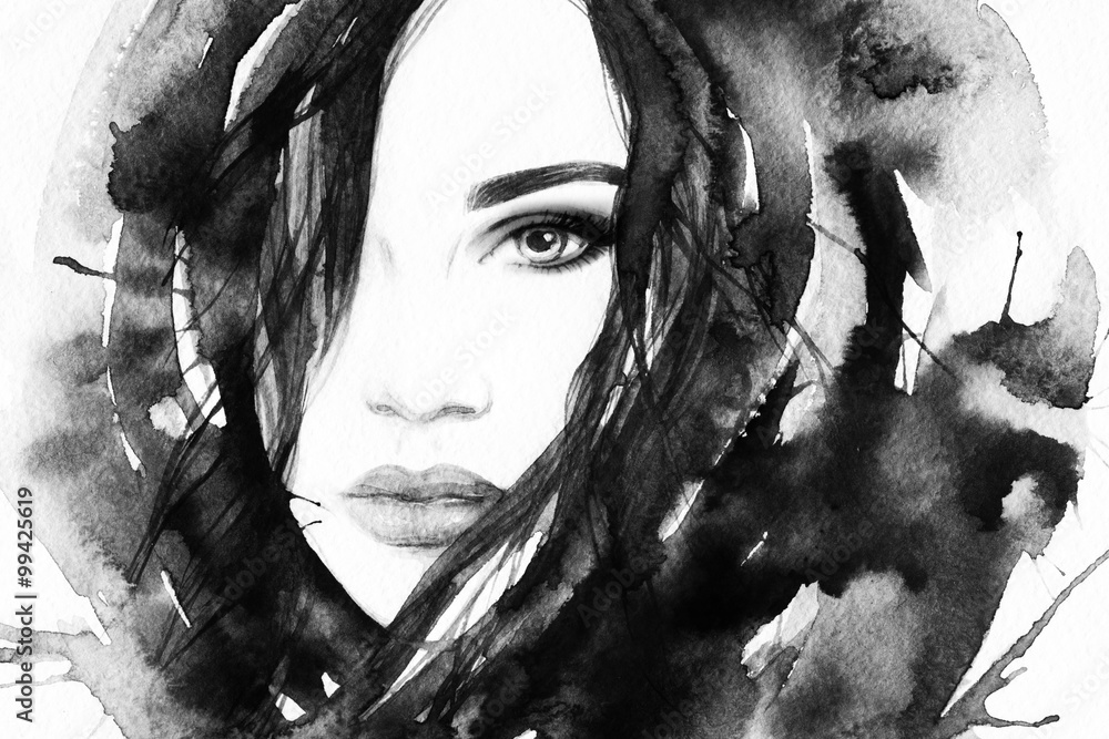 Fototapety, obrazy: Beautiful woman face. Abstract fashion watercolor illustration