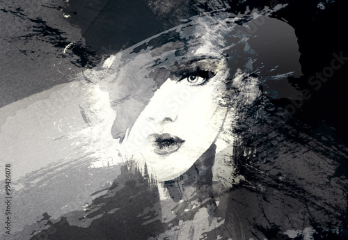 Wall Murals Watercolor Face Beautiful woman face. Abstract fashion watercolor illustration