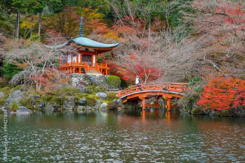 Photo Stands Zen Daigoji Buddhist Temple in Kyoto, Japan
