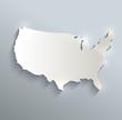 USA map blue white card paper 3D raster