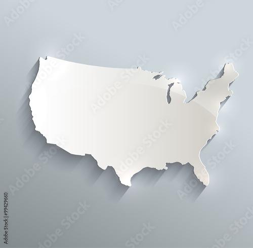 USA map blue white card paper 3D raster Canvas Print
