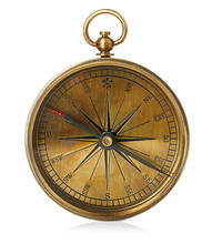 Old Vintage Brass Compass Isolated On A White Background.