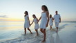 Loving Caucasian family on tropical beach at sunrise