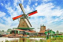 Unique Old, Authentic, Real Working Windmills In The Suburbs Of