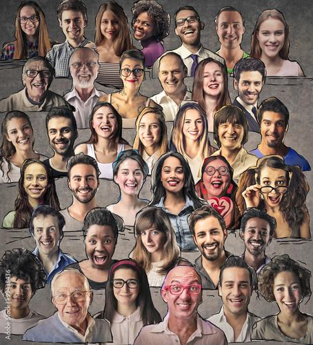 Valokuva  Mosaic of smiling people