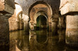 Moorish water cistern with horseshoe arches built by the Berbers and under Caceres Museum in the Casa de las Veletas, Caceres, Extremadura, Spain