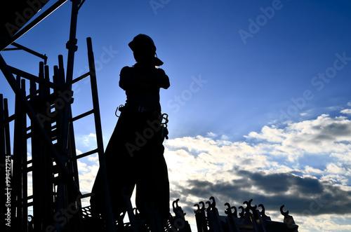 Fotografie, Obraz  Japanese steeplejack in the early morning