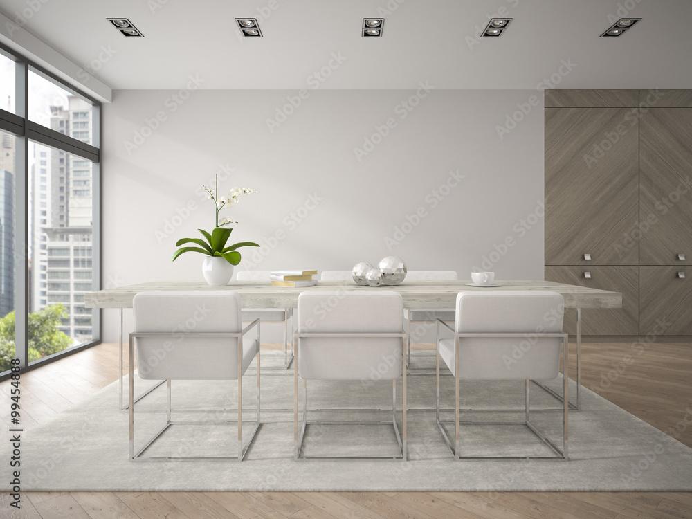 Fotografiet Interior of modern design loft with big table 3D rendering 4