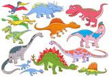 Fototapeta Dinusie - illustration of cute dinosaurs cartoon character