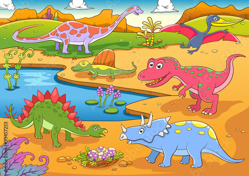 Deurstickers Dinosaurs illustration of cute dinosaurs cartoon