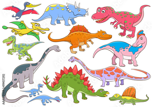 Deurstickers Dinosaurs illustration of cute dinosaurs cartoon character