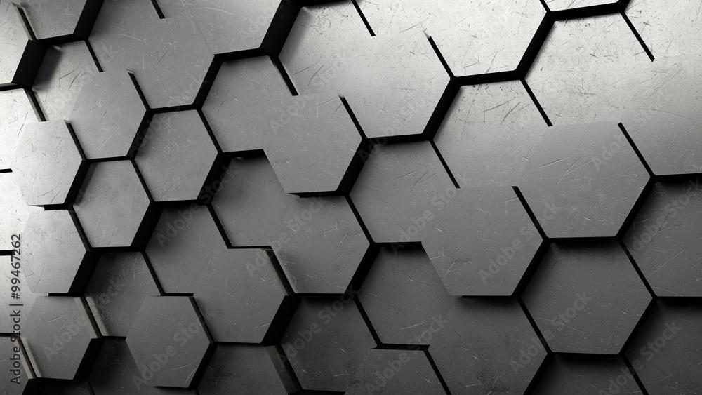 Fototapeta 3D Hexagon Hintergrund aus Metall