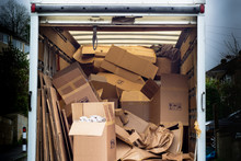 Removal Van With Untidy Boxes ...