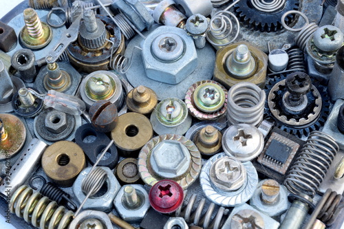 Large collection of various metal elements as screws, bolts, heads