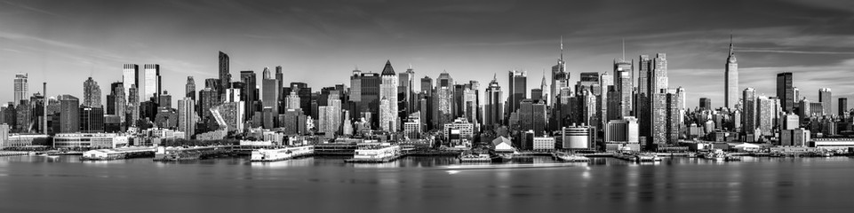 Panel Szklany PodświetlaneBlack and white New York City panorama