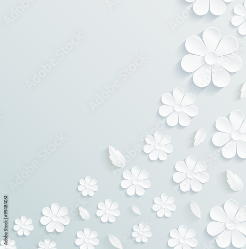 Fotografia Seamless pattern daisy with leaves on gray background