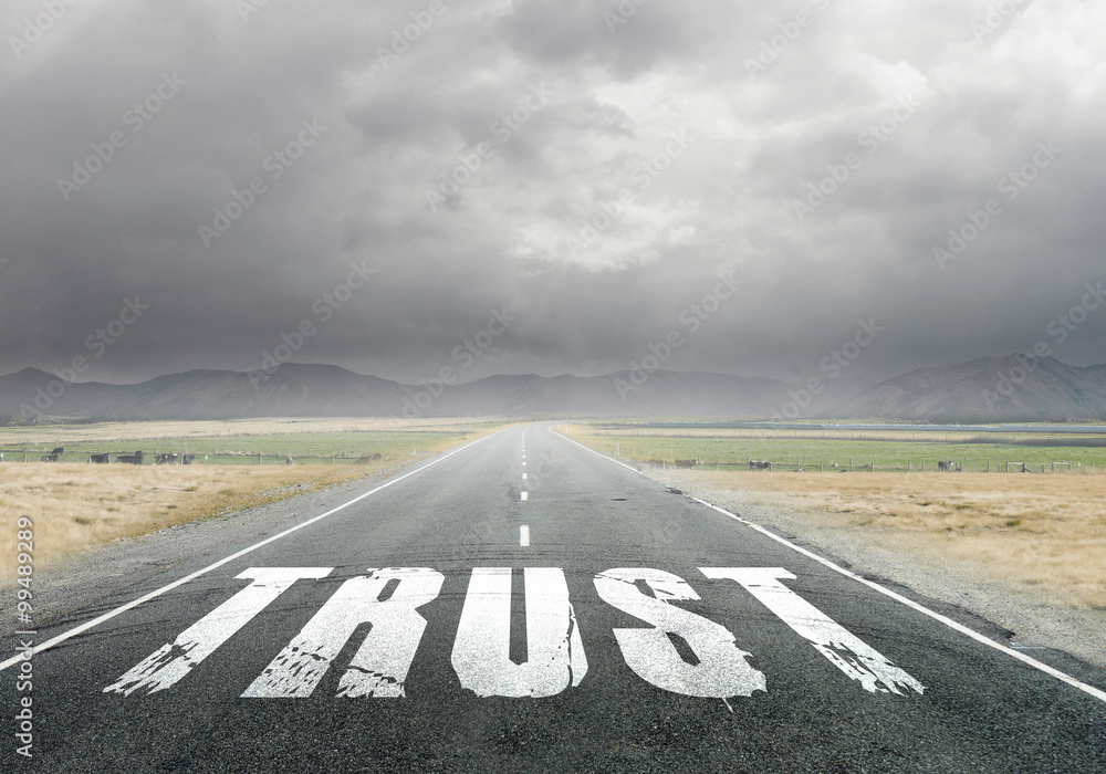 Fototapeta Trust word on asphalt road