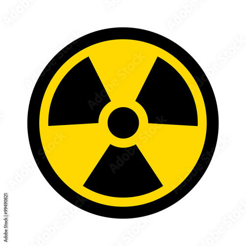 Fotomural Yellow radioactive / radiation symbol flat icon for websites and print