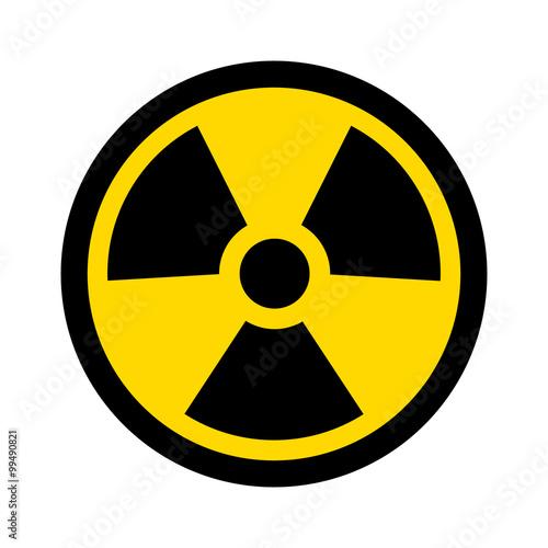 Yellow radioactive / radiation symbol flat icon for websites and print Slika na platnu