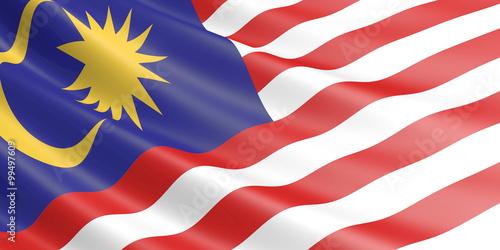 Fotografía  Flag of Malaysia waving in the wind.