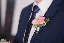 Boutonniere On Trendy Groom At...