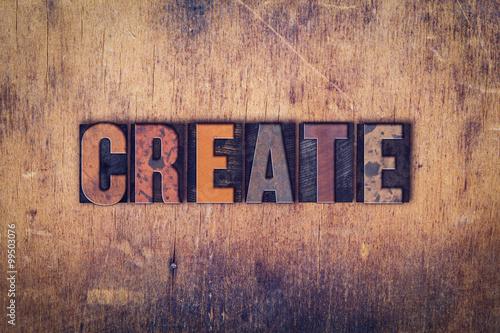 Create Concept Wooden Letterpress Type Canvas Print