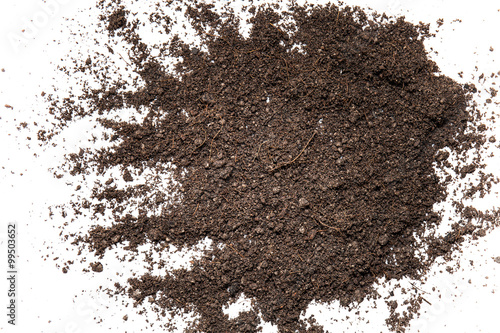 Photo  Pile of composition of the iron powder and vermiculite Isolated
