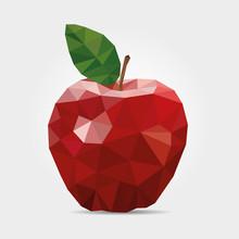 Polygonal Red Apple In Vector