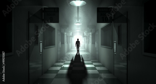 Mental Asylum With Ghostly Figure Wallpaper Mural