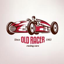 Retro Race Car, Vintage Vector...
