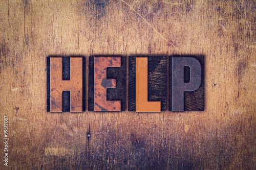 Help Concept Wooden Letterpress Type Canvas-taulu