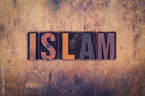 Photo  Islam Concept Wooden Letterpress Type