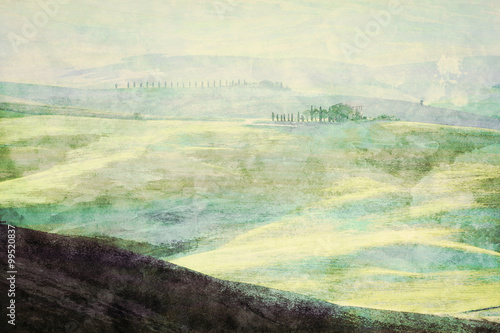 Photographie  Painting of Tuscany landscape at sunrise. Tuscan green hills.