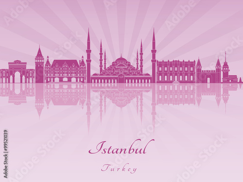 Istanbul skyline in purple radiant orchid Poster