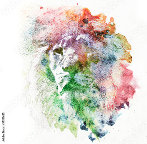 akwarela-malarstwo-lwa-streszczenie-kolorowe-sztuki